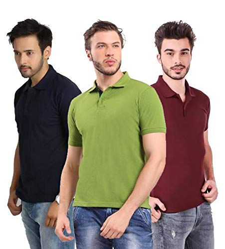 Freely Poly Cotton Polo Collar & Plain Comfort Fit T-Shirt for Mens - Pack of 3