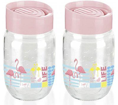 Signoraware Glass Stackable Jar, 660 ml,Set of 2