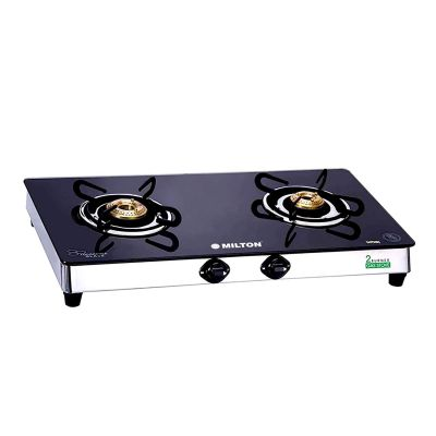 Milton Sapphire Stainless Steel Frame Black Toughened Glass Top Gas Stove - 2 Burner