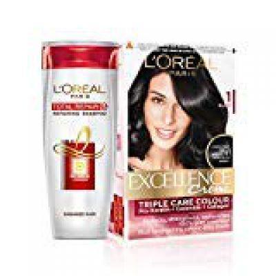 L'Oreal Paris Excellence Creme Hair Color, 1 Black, 72ml+100g With Free Total Repair 5 Shampoo, 175ml