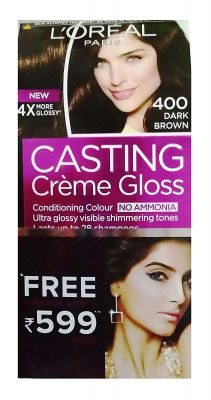 L'Oreal Paris Casting Creme Gloss Hair Color, 400 Chocolate, 87.5g+72ml With free Jewellery