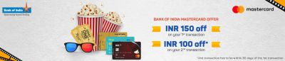 BookMyShow Bank of India Mastercard Offer | Rs.150 Off on 300