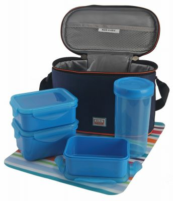 All Time Plastic Lunch Box with Bag Set, 4-Pieces, Blue