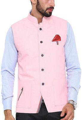 Shaftesbury London Men's Solid Cotton Bandhgala Ethnic Nehru Jacket Waistcoat (Pink,Parent)