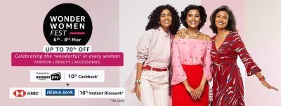 Wonder Women Fest: Up to 70% off + 10% Cashback + 10% Bank offer