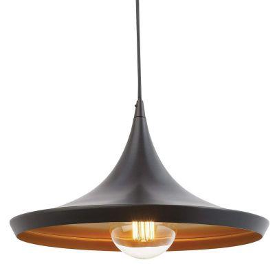 Homesake® Vintage Black Danish Medium Metal Tawa Hanging Light, Pendant Ceiling Light and Lamp (Bulbs Provided)