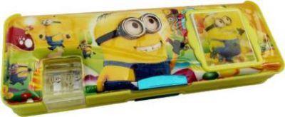 saburi Minion Mini Calculator Pencil Box Magnatic Art Plastic Pencil Box  (Set of 1, Yellow)