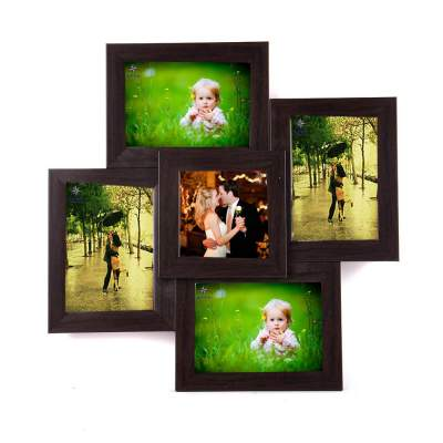 WENS 5-Picture MDF Photo Frame (19.25 inch x 10.25 inch, Brown)