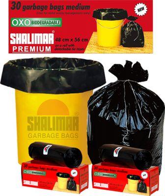 Shalimar Premium OXO - Biodegradable Garbage Bags   Size 48 cm x 56 cm 4 Rolls (120 Bags) (Black Colour)