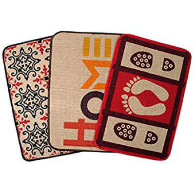 Saral Home Decorative Jute Printed Doormat Set of 3Pc- 40x60 cm, Red