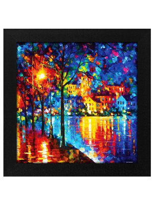 Story@Home Synthetic Wood Framed Exclusive 'Shining Trees' Modern Wall Art Painting for Decorating Living Room, Drawing Room, Bedroom, Hall Ready to Hang