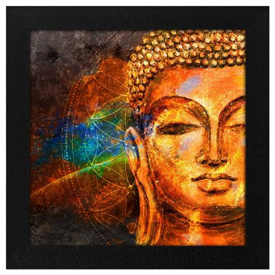 Story@Home Synthetic Wood Framed Beautiful Design 'Meditating Lord Buddha' Modern Wall Art Painting for Decorating Living Room, Bedroom, Drawing Room, Hall Ready to Hang