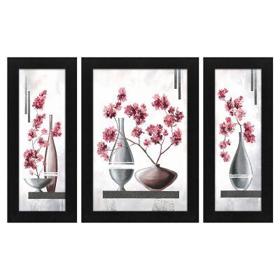 Story@Home UV Textured Modern Art Print Framed Painting - (Wood, 35cm x 27cm x 3cm, Silver, Set of 3