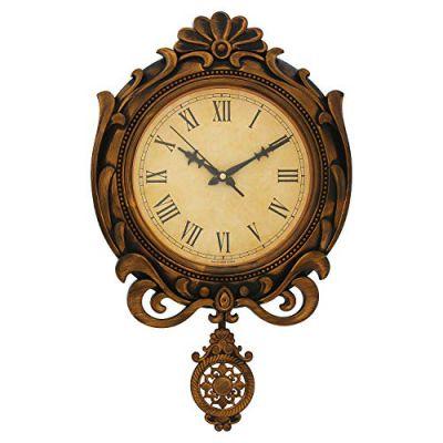 WebelKart Designer Retro Decorative Antique Pendulum Wall Clock (16 in x 12 in- Gold)