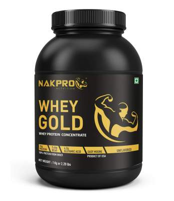 Nakpro Gold Whey Protein Concentrate 80% (24gm Protein per serving), Raw Whey Protein Supplement Powder from USA - Unflavoured - 1kg