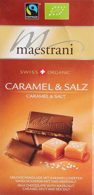 MAESTRANI Swiss Organic Milk Choco with Hazelnut Caramel Split & Salz, 80 g
