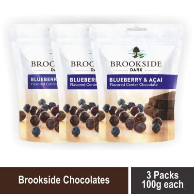 Brookside Flavored Center Chocolate - Blueberry and Acai Pouch, 3 X 100 g