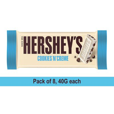 Hershey's Bar Cookies n Creme, 40gm (Pack of 8) Pouch, 8 x 40 g