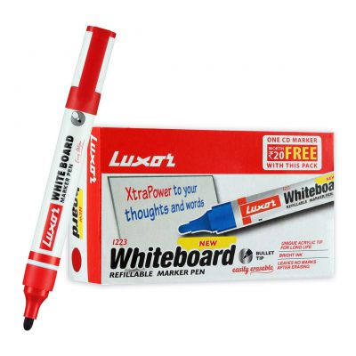 Luxor 1223 Refillable White Board Marker - Red - Box of 10
