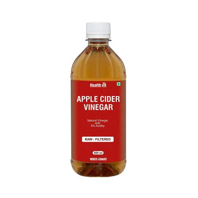 Healthvit Natural Apple Cider Vinegar with Mother Vinegar Raw, Filtered and Undiluted - 500 ml