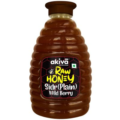 Raw Honey, 500 ml - 100% Pure - with No Chemicals, No Added Sugar, No additives - Unfiltered Honey in Squeezy Bottle by Akiva Superfoods