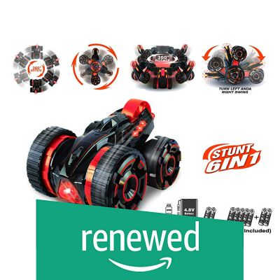 (Renewed) Popsugar 6 in 1 Double Sided Stunt Car with Rechargeable Battery and Charger Toy for Kids and Adults (See Video), Red