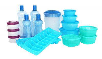 Princeware Plastic Refrigerator Jar Set, 17-Pieces, Multicolour