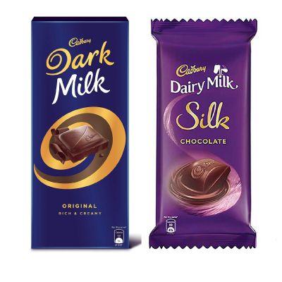 Cadbury Large Chocolate Combo(Dark Milk 156g + Silk Plain 150g), 306 g