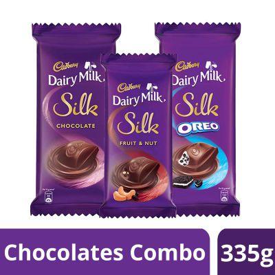 Cadbury Dairy Milk Silk Chocolates Combo (1 x Silk Plain 150g, 1 x Silk Oreo 130g and 1 x Silk Fruit and Nut 55gm)