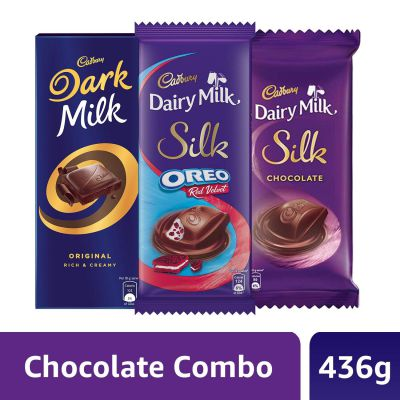 Cadbury Large Chocolates Combo (Dark Milk 156g + Red Velvet 130g + Silk Plain 150g), 436 g
