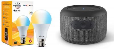 Echo Input Portable with Wipro 9W smart white bulb