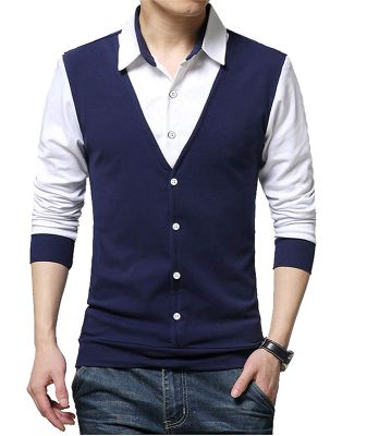 EYEBOGLER Regular Men's Cotton Waist Coat Style Tshirt/T-Shirt