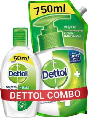 Dettol Original Liquid Hand Wash Refill with Instant Sanitizer (2 Items in the set)