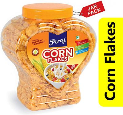 Percy Breakfast Cereal, Corn Flakes - Classic, Jumbo Jar, 340g [Zero Cholesterol, Low Fat, High Fibre] Jar, 340 g