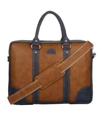 K London Leatherite Handmade Tan Unisex Bag Cross Over Shoulder Messenger Bag with Laptop Compartment