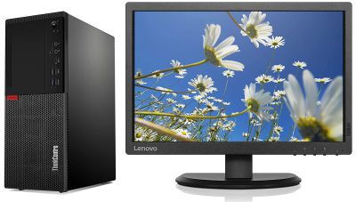 Lenovo Think Centre M720 Intel 9th Gen Core i3 Tower Desktop (4GB RAM/ 1TB HDD/Windows 10 Professional/Black), 10SRS35V00 with 19.5 inch Think Vision Monitor