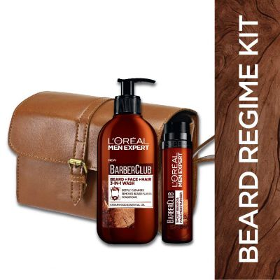 L'Oreal Paris Men Expert Barber Club Men's Grooming Kit, Beard + Face + Hair, 3-In-1 Wash, 200ml with Short Beard and Face Moisturiser, 50ml