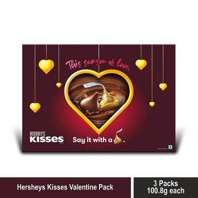 Kisses Hershey's Gift Pack (Assorted Pack 3 Almond 100.8gm) with Gift Pouch, 3 x 100 g