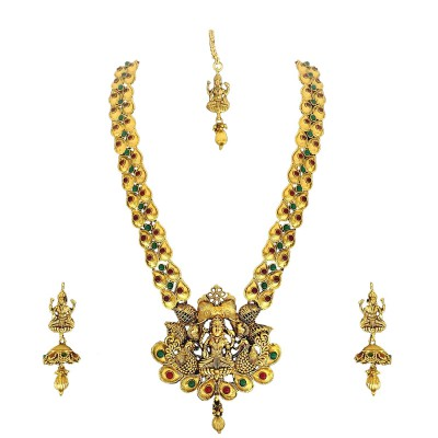 Matushri Art Red and Green Brass Jewellery of God Laxmi with Elephant and Dancing Peacock Necklace Set for Women