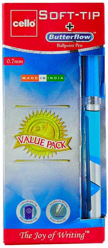 Cello Pens Export Pack 12 Soft-Tip Ballpen and 1 Butterflow (Blue ink)