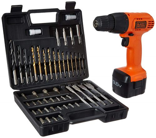 Black & Decker CD961K50 9.6 Volt Cordless Keyless Chuck Drill Driver Kit (Orange, 50 Accessories)