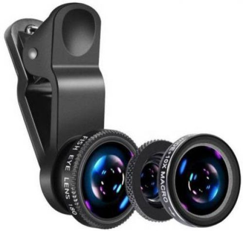 CASVO Mobile Photography Lens , Mobile Camera Lens Clip-On 3 in 1 Kit, 180 Degree Fisheye Lens + 0.67X Wide Angle + 10X Macro Lens, Mobile Phone Lense Mobile Phone Lens
