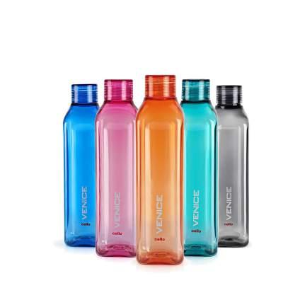 Cello VENICE FRIDGE WATER BOTTLES 1000 ml Bottle  (Pack of 5, Multicolor)