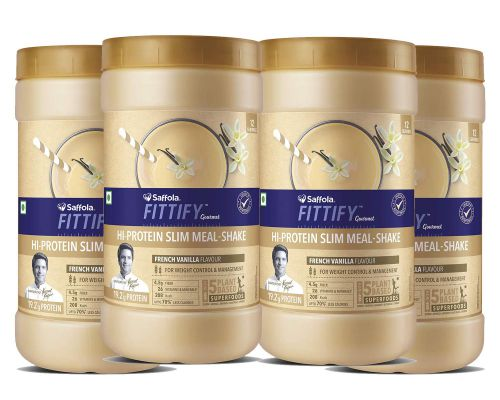 Saffola FITTIFY Gourmet Hi-Protein Slim Meal Shake - French Vanilla, 420 gm (Pack of 4)