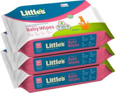 Little's Soft Cleansing Baby Wipes with Aloe Vera, Jojoba Oil and Vitamin E (80 N x 3 Pack of) (240 Wipes)