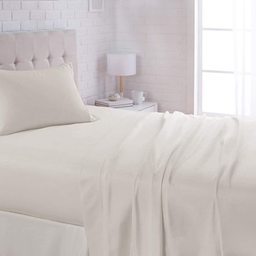 AmazonBasics Microfiber Sheet Set - (Includes 1 bedsheet, 1 Fitted Sheet with Elastic, 2 Pillow Covers) Full, Light Grey