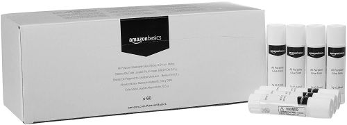 AmazonBasics Non toxic All Purpose Washable Glue Sticks, Washable, 60 Pack, 6.8 Gram Sticks