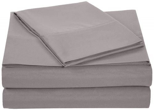 AmazonBasics Microfiber Sheet Set - Single, Dark Grey, 4-Pack (Each Pack Includes 1 bedsheet, 1 Fitted Sheet with Elastic, 1 Pillow Cover)