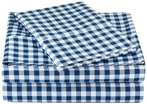 AmazonBasics Microfiber Sheet Set - Single, Gingham Plaid, 4-Pack (Each Pack Includes 1 bedsheet, 1 Fitted Sheet with Elastic, 1 Pillow Cover)