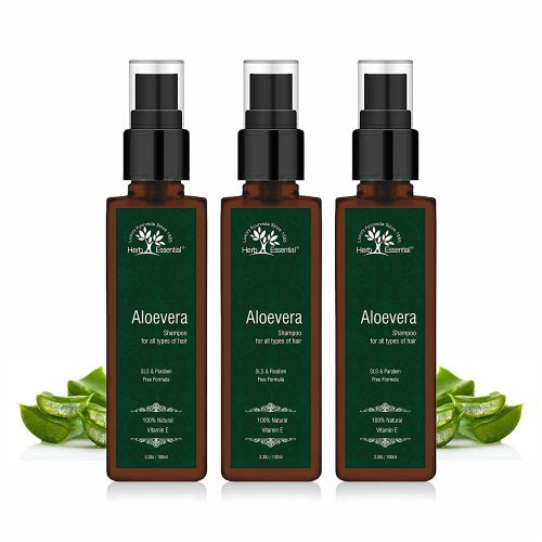 Herb Essential Natural Aloevera No Sulphate and Paraben Shampoo, 100 ml (Pack of 3)